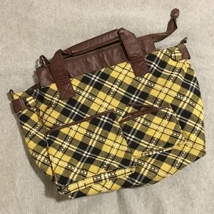 Plaid Shoulder Bag with Vegan Leather